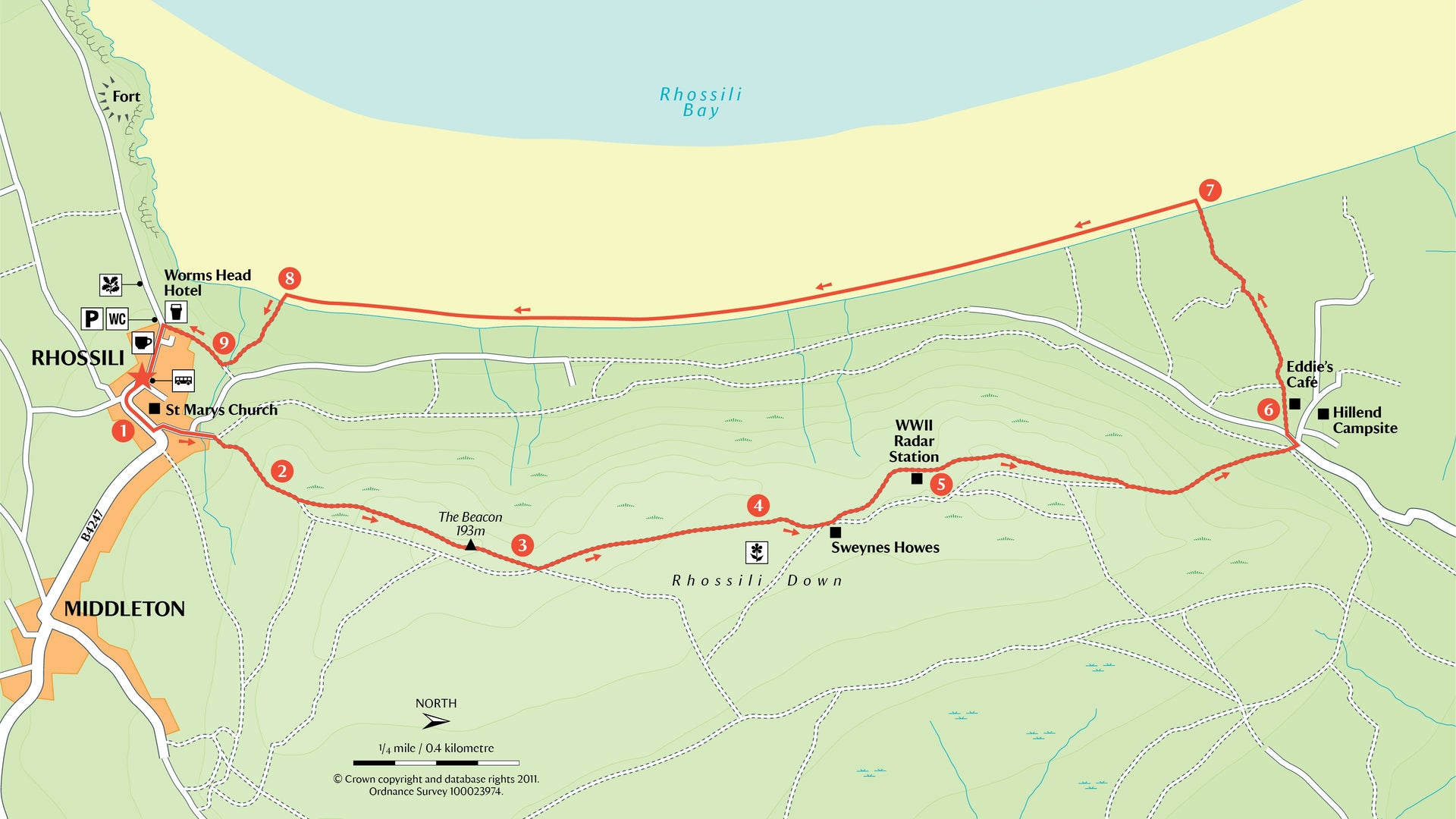 Rhossili Down Walking Trail from Llangennith - Gower Peninsula Hiking Route Map and Guide