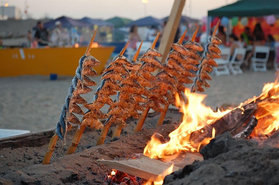 Malaga Sardines on the beach